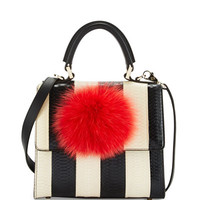Les Petits Joueurs Mini Alex Bunny Striped Satchel Bag with Fur Pom, Black/White