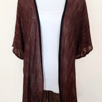 Brown striped Kimono Cardigan, Kimono Jacket with Black Trim, Long Length, Lightweight Jersey Knit Cardigan. Gift for Her, Women's Cover Up.