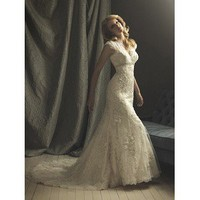 A-Line Lace Wedding Dress with Short Sleeves V-Neck Chapel Train - Cheap Wedding Dresses