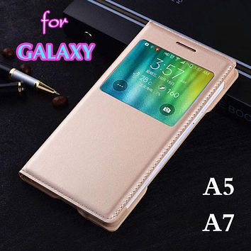 Slim Bag Smart View Auto Sleep Wake Original Flip Cover Leather Case For Samsung Galaxy A5 2015 A500 A500F A500H A7 A700 A700F