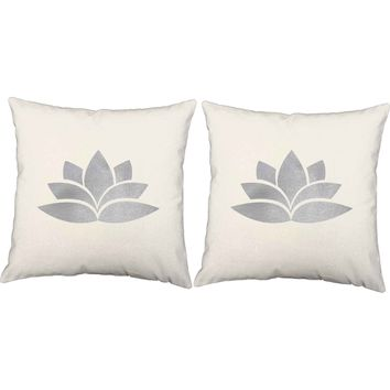 Metallic Silver Lotus Throw Pillows