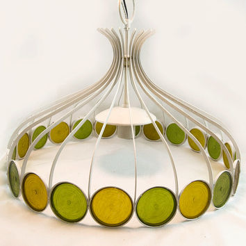 Retro 1970s Mad Men Style Yellow & Green Pendant Light