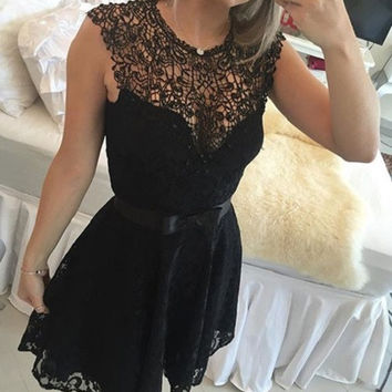 Black V Neck Lace Short Homecoming Dress, Homecoming Dress 2017