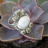 Shiva Shell and Citrine Sterling Silver Ring