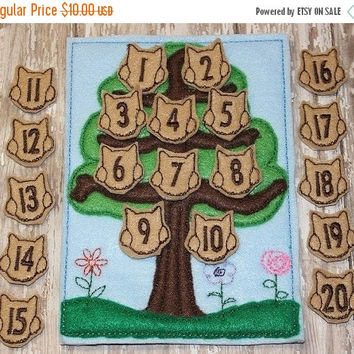 On Sale 15% Off Owl Counting game embroidered, montessori, home school, homeschool, math game, counting game, children, toy, learning, educa