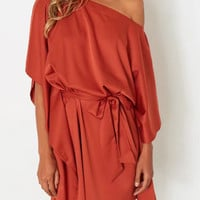 Orange One Shoulder Cape Sleeve Tie Waist Dress