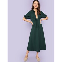 Green Elastic Cuff Knot Plunging Neck Dress