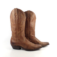 Brown Cowboy Boots Vintage 1980s Boulet Leather Distressed Women's size 7 1/2