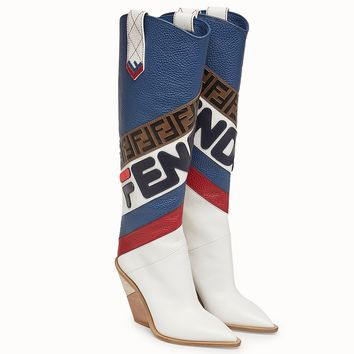 Retro Mania Pointed Cowboy Boots by Fendi