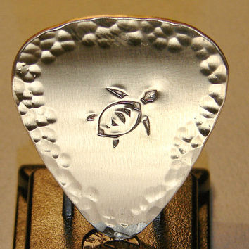 Bronze Guitar Pick with Tortoise Stamp and Hammered Design Work