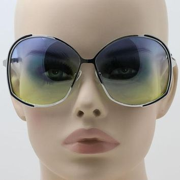 Elite Oversized Oval Metal Frame Stylish Mens Womens Gradient Lens Sunglasses