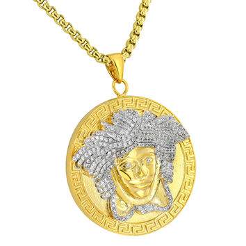 Medusa Face Pendant 18K Yellow Gold Plate Greek Design