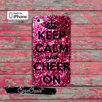 Keep Calm and Cheer On Cheerleading iPhone 4 and 4s Case and Custom iPhone 5 and 5s and 5c Case