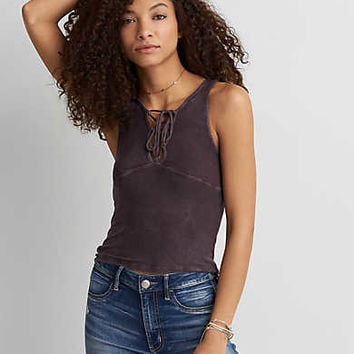 AEO Soft & Sexy Ribbed Lace-Up Tank , Plum