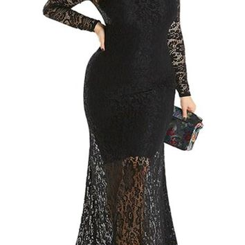 Black Plus Size High Neck Lace Fishtail Maxi Party Dress