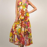 Goa Floral Print 100% Cotton Halter Dress - GOA Summer Apparel for Her - Modnique.com