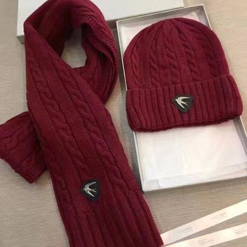DCCKI2G Alexander McQueen Fashion Beanies Knit Winter Hat Cap Scarf Scarves Set Two-Piece