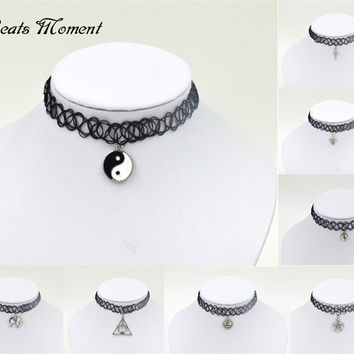 Choker Tattoo Choker Necklace B&M Chocker Necklace Fashion Alloy Elastic Layered Necklace Choker Tattoo Choker With Pendant
