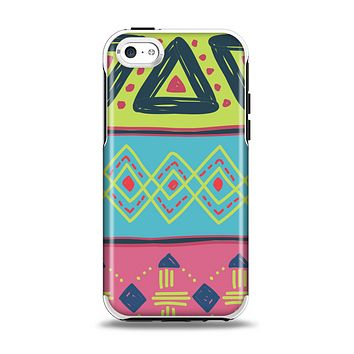 The Vector Sketched Yellow-Teal-Pink Aztec Pattern Apple iPhone 5c Otterbox Symmetry Case Skin Set