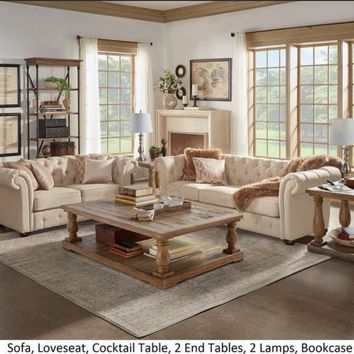 Beige Fabric Button Tufted Chesterfield Sofa and Room Set