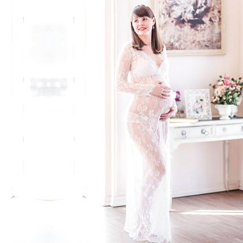 White Lace Maternity Dress For Maternity Photography Props Maternity Maxi Gown Fancy Shooting Photo Pregnant Dress Plus Size