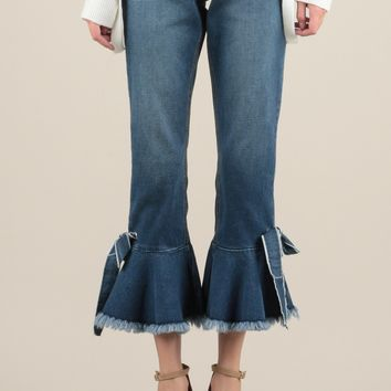 Cropped Flared Jeans with Tie