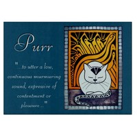 Purr Art Deco White Cat with Quote Cutting Board