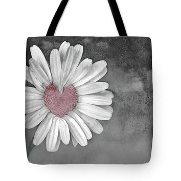 "Heart Of A Daisy Tote Bag 18"" x 18"""