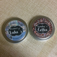 Lorelai's Coffee & Breakfast at Luke's -- Gilmore Girls inspired soy candles -- 4oz metal tins -- set of TWO