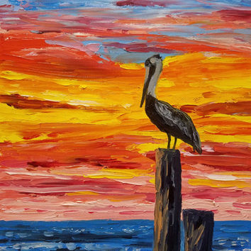 """Original Palette Knife Painting 14"""" Oils on Canvas, Seascape Art, Colorful, Pelican in Sunset, by Ryan Kimba"""