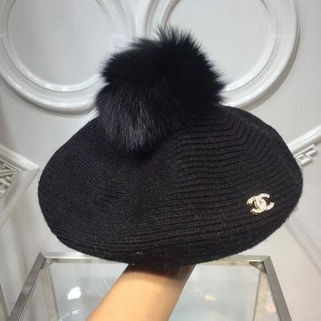 VONEF3L CHANEL Women Winter Knit Beanies Hat Cap Beret