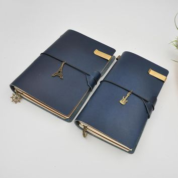 Vintage Genuine Leather Notebook Diary Travel Journal Sketchbook A5 Handmade Paper Refill with Gifts Accessories