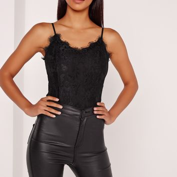 Missguided - Lace Overlay Bodysuit Black