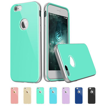 ESR Iris Mint Green Soft TPU Hybrid Silver Gunmetal Aluminum Frame iPhone 6 case