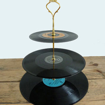vintage vinyl cake stand by tinker & tailor | notonthehighstreet.com