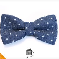 "Pet Bow Tie - ""Weekend"" - Blue Chambray w/ Mini Dots - Detachable Bowtie for Cats + Dogs"