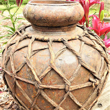 Metal Urn Wrapped in Rawhide, Rustic Vessel with Deer Hide Design, Unusual Urn or Pot