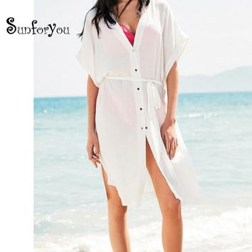 Beach Cover up 2018 Kaftan Beach Bathing Suit Cover ups Tunics for Beach Pareo Beach Wear Saida de Banho Swimwear Women Dresses