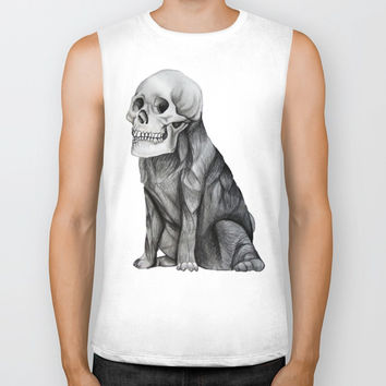 skullpug // A brutal pug wearing a human skull made in pencil Biker Tank by Camila Quintana S