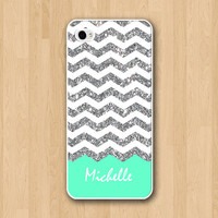Glitter chevron iphone 5 case - iphone 5S case - iphone 5C case - Mint iphone Case, iPhone5 Case ( Not Actual Glitter )