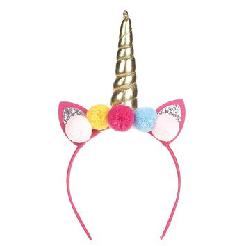 6pcs Colorful Ball Glitter Cat Ear Princess Hair Hoop Headband Girl Headwear Cute Rainbow Unicorn Horn Hairband