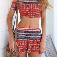 Off Shoulder Printed Ruched  Elastic Crop Top Mini Skirt Set