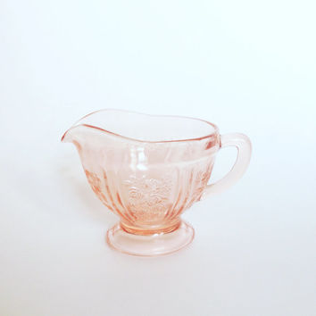 Pink Depression Glass Creamer Sharon Cabbage Rose pattern by Federal Glass Company | 60s Pink Glass | Pink Decorative Glass | Jewelry Bowl