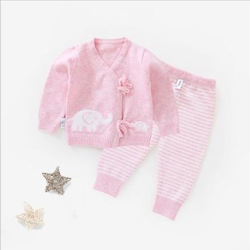 Cardigan 0-6M Infant Baby Clothing Set Newborn Baby Long Sleeve Sweater Set Boys Girls Clothes Set Top+Pants Cotton Belt V-Neck