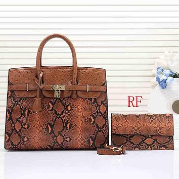 Hermes Women Fashion Leather Handbag Crossbody Shoulder Bag Satchel Two Piece Set