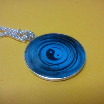 Blue Yin Yang Necklace, pendant, charm, ancient Chinese Tai-Chi energies, meditation