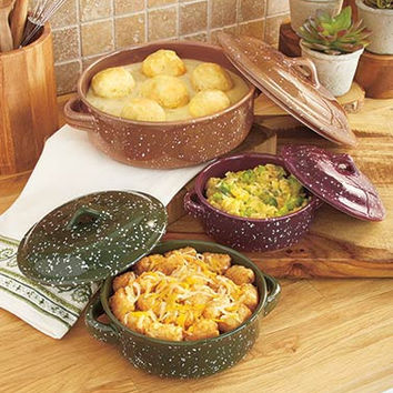 Casserole Dish Pan Set Covered Baking Roasting 3 Pce Speckled Finish Country