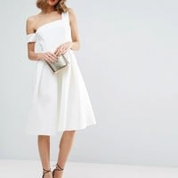 ASOS Scuba Asymmetric Midi Debutante Dress at asos.com