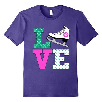 Snow Ice Skate Love Christmas Shirt for Figure Skater Mom