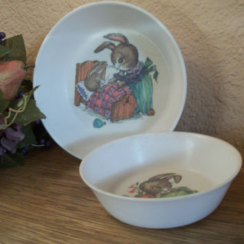 Oneida Deluxe Peter Rabbit Children's Tableware Vintage1960's Bowls Mother and Baby Bunny and Rabbit in Garden Dishes Easter Decor